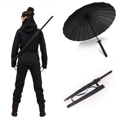 Japanese Katana Windproof Black Warrior Umbrella Samurai Sword Handle Strap Fold