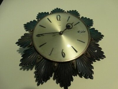 Vintage Metamec Black & Gold Sunburst Wall Clock