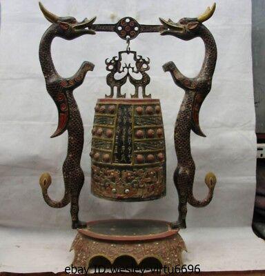 33 China Royal Palace Bronze Painted Beast Dragon musical instrument Statue Bell