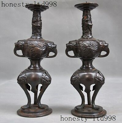 """9""""China bronze fengshui beast dragon lucky statue Candle Holder Candlestick pair"""