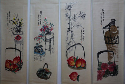 """RARE Chinese 100% Hand Painting 4 Scrolls """"Flowers & Fruits"""" By Qi baishi 齐白石 AL"""