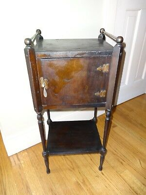 Antique Wood Humidor Smoking Tobacco Cigar Pipe Stand Table Cabinet Smoker