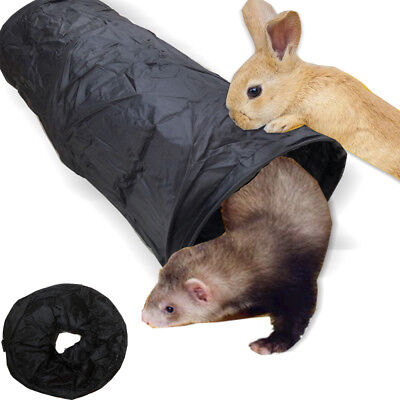 Foldable Pet Rabbit Ferret Guinea Pig Fun Tunnel Small Animals Training Toys BLK