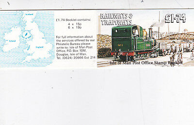 Isle Of Man 1990 £1.74 Railways and Tramways Stamp Booklet Mint