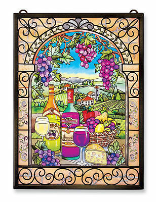 """Amia Stained Glass 11"""" X 15.5"""" Great Vintages Wine Window Panel #9717"""