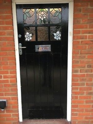1930's Solid Wood Front Door including furniture / original glazing