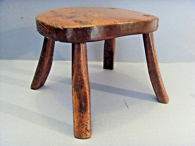 LATE 18thC ENGLISH TREEN ELM CANDLE LAMP / FOOT STOOL, c1780-1800