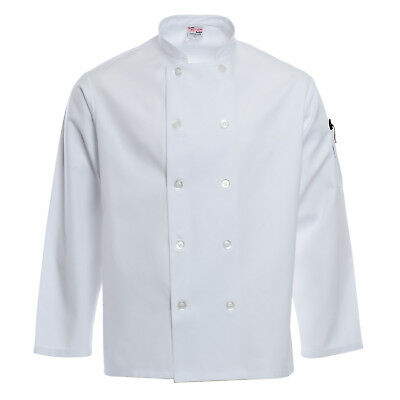 CHEF DUDS Unisex White Chef Coat Jacket Small Safety Sleeve C811CD 7002