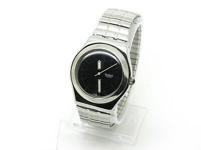 1996 Swatch Irony Medium Watch, YLS104 Avalanche, Black Dial, Expanding Bracelet