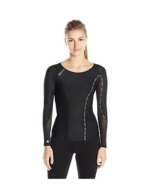 SKINS Womens DNAmic Women's Compression Long sleeve Top Black/Limoncello