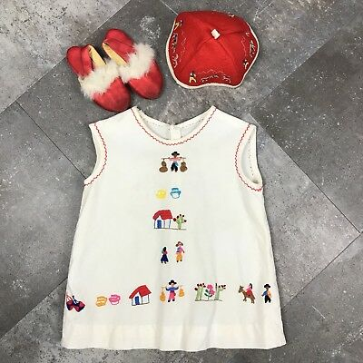Vintage Toddler Dress Hand Embroidered Mexican Boho with Beanie and Slippers