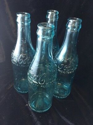 4 Blue Glass Coca Cola Bottles circa 1900-1917 made in Canada
