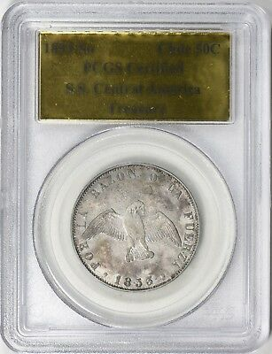 1853-So Chile 50 Centavo SS Central America Gold Label PCGS Certified