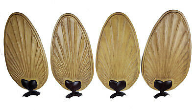 Wood Carved Wooden Leaf Ceiling Fan Blades Brass Arms 4 Large Leaves Usa