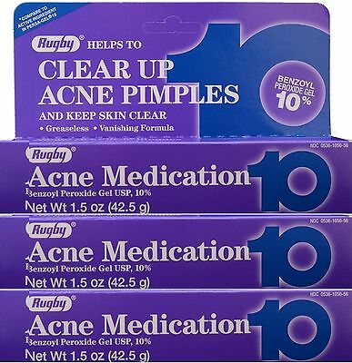 Rugby Acne Gel Benzoyl Peroxide 10% -1.5oz Tube -3 Pack -Expiration Date 10-2020