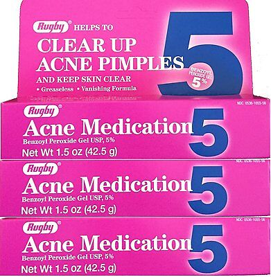 Rugby Acne Gel Benzoyl Peroxide 5% 1.5oz Tube -3 Pack -Expiration Date 07-2020-