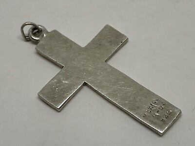 Mexico Taxco Sterling Silver 925 Cross Small  Simple Slight Curved Pendant NICE