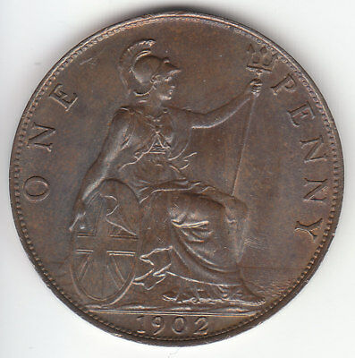 1902 Great Britain Edward VII 1 One Penny.  Normal Tide. AU.