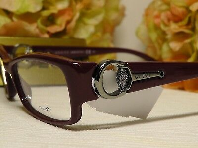 3dac5f77bf4 Gucci GG3553 Red Silvertone w Crystals Rectangle Frame Eyeglasses 52 16  140
