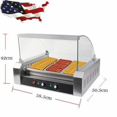 1200W Commercial 18 Hot Dog Hotdog 7 Roller Grill Cooker Machine W/ Stainless