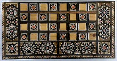 Vintage Damascus, Syria Middle Eastern Inlaid Marquetry Mosaic Backgammon Box