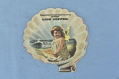 Antique ADVERTISING VICTORIAN TRADE CARD LION COFFEE ANGEL in SEASHELL HTF 04853