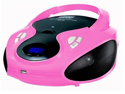 Cyberlux CD Player Tragbares Stereo Radio mit CD/MP3 Player USB SD pink