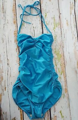Vintage blue ruched swimming costume swimsuit body 10 12