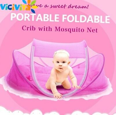 Foldable New Baby Bed With Pillow Mat Set Portable Folding Crib With Netting
