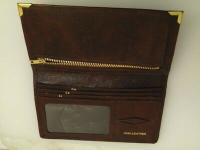 vintage brown leather leather wallet notes zipped coin pouch stamp slot perspex