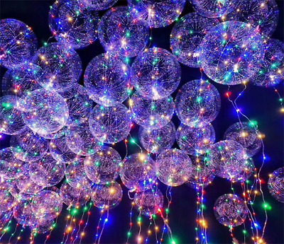 10 X  20'' BOBO Luminous Led Balloon Transparent Clear Round Bubble Geburtstag