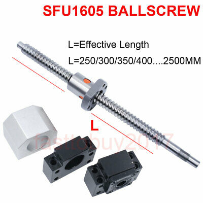 SFU1605 250-1500mm Rolled Ball Screw C7 +1605 Ball Nut + BK/BF12 End Support CNC