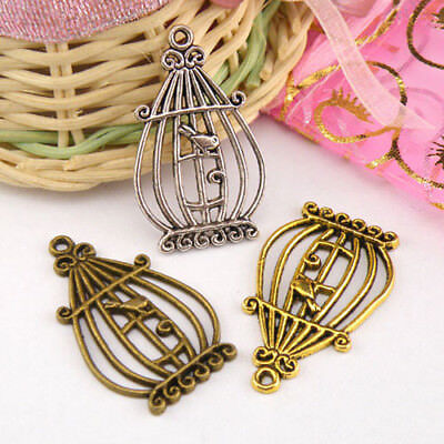 4Pcs Tibetan Silver,Antiqued Gold,Bronze Bird Cage Charms Pendants M1314