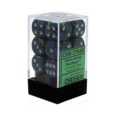 Set d6 Festive Green w/silver - Chessex CHX 27645