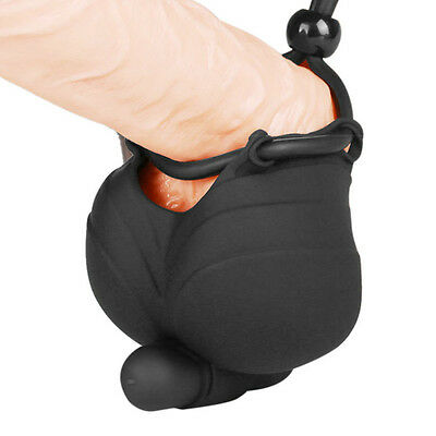 Cage Vibrating Male Scrotum Squeeze Ring Chastity Ball Stretcher Enhancer Toy