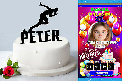 Personalised Sprinter Acrylic Cake Topper Custom Name Birthday Party Decoration