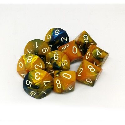 Set d10 Gemini Masquerade Yellow/White  - Chessex CHX 26260