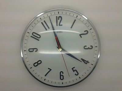 Vintage White 1960s Metamec Battery Wall Clock Retro Kitchen Clock Guaranteed