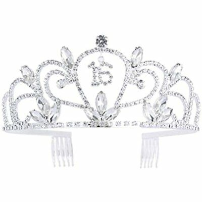 Frcolor Sweet 16 Birthday Tiara Rhinestone Crystal Crown For 16th Gift Party
