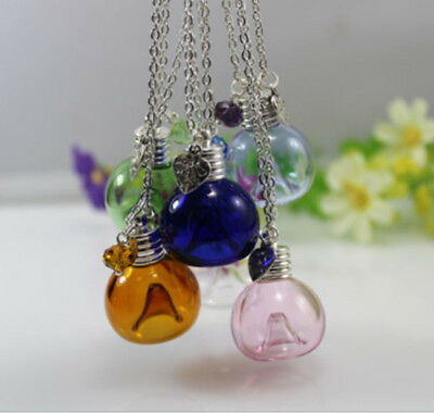 Glass Beads Essential Oil Bottle Sweater Chain Necklace Aroma Perfume Pendant 1P