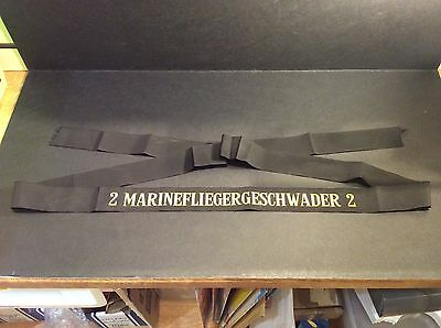 "German Naval Aviation cap tally/ribbon ""2 MARINEFLIEGERGESCHWADER 2"" ***UNCUT***"