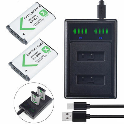 2X Battery &DUAL USB Charger NP-BX1 for Sony HDR-GWP88VB HDR-AS100VR DSC-HX90V
