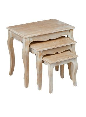 Limed Oak Shabby Chic French Country Nest Of 3 Lamp Side Plant Coffee Tables