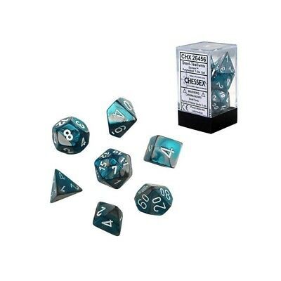 Set di dadi misti Gemini Steel-Teal w/white - Chessex CHX 26456