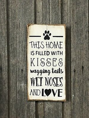 WET NOSES WAGGING TAILS H40CM X W20CM - Rustic Vintage Style Timber Sign