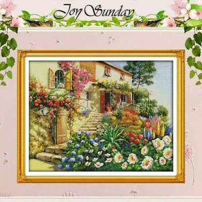 A COLOURFUL GARDEN VILLA cross stitch kit 14 ct size 50 x 40 cm JOY SUNDAY