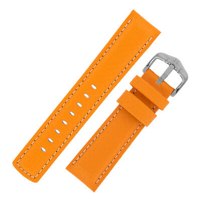 Hirsch CARBON Embossed Leather & Rubber Water Resistant Watch Strap in ORANGE