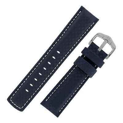 Hirsch CARBON Embossed Leather & Rubber Water Resistant Watch Strap in BLUE