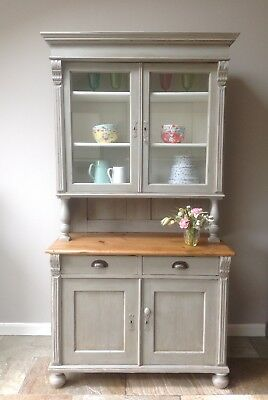 Antique Gustavian Continental Painted Pine Grey Welsh Dresser Larder Cupboard