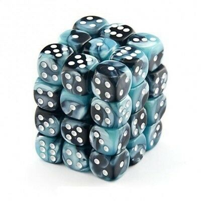 Set d6 12mm Gemini Black-Shell w/white - Chessex CHX 26846